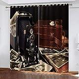 LWXBJX Opacas Cortinas Dormitorio - Cámara Retro - Impresión 3D Aislantes de Frío y Calor 90% Opacas Cortinas - 300 x 270 cm - Salon Cocina Habitacion Niño Moderna Decorativa