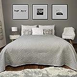 HOMELEVEL Tagesdecke Bett und Sofaüberwurf Bettüberwurf Sofa Tages Ornamente Decken Betthusse XXL Decke Überwurf Überdecke Hellgrau 200cm x 220cm