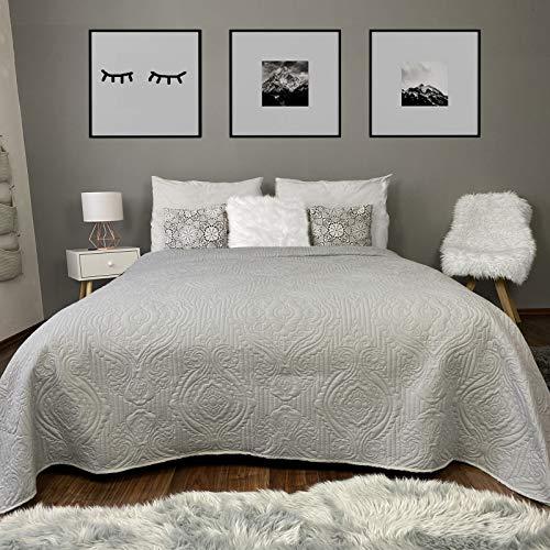 HOMELEVEL Tagesdecke Bett & Sofaüberwurf Bettüberwurf Sofa Tages Ornamente Decken Betthusse XXL Decke Überwurf Überdecke Hellgrau 220cmx 240cm