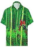 LA LEELA Campamento de Playa Tropical Verano Casual Camisa Hawaiana de los Hombres Verde_AA325...