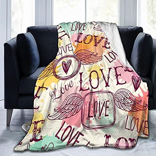 QUEMIN Manta de forro polar de franela de tamaño completo pintada a mano, manta de felpa para todas las estaciones para sofá, cama, viajes, camping o niños adultos de 80 x 60 pulgadas