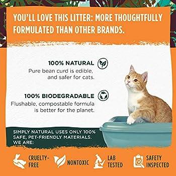 Litière de tofu pour chat par Simply Natural – 6 litres de litière de tofu pour chat naturelle et biodégradable sans odeur ni poussière