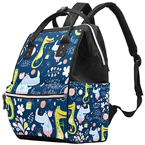 Mochila para ordenador portátil impermeable bolsa de pañales bolsa de enfermería viaje pañales bolsas de mano verde cocodrilo azul rinoceronte