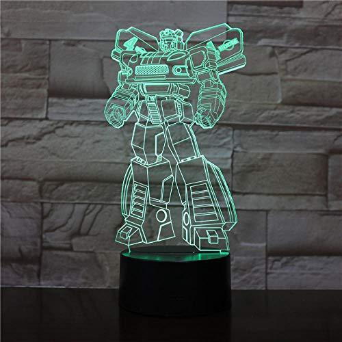 Luz De Ilusión 3D-Robot Luz De Noche Lámpara Led 3D Lámpara De Humor Lámpara De Decoración Luz De Noche Para Niños Juego Regalos-Toque