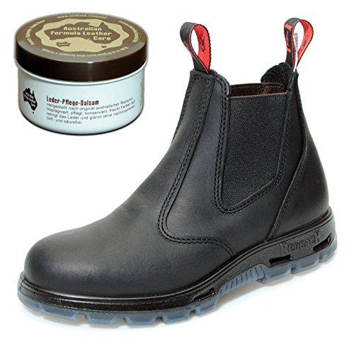 RedbacK USBBK Safety Work Boots aus Australien - mit Stahlkappe - Unisex + 250 ml Lederpflege | Black/Schwarz | UK 10.0 / EU 44.0