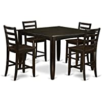 East West Furniture FAIR5-CAP-W 5 Piece Pub Table Set includes Square Table and 4 Kitchen counter Chairs