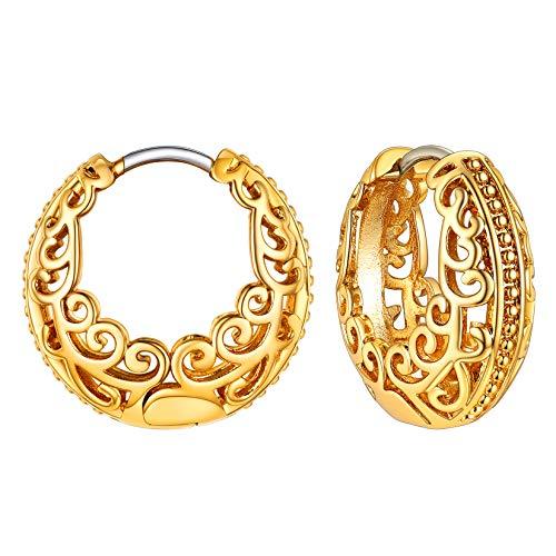 Women Girls 18K Gold Plated Sterling Silver Post Vintage Celtic Knot Small Hoop Earrings