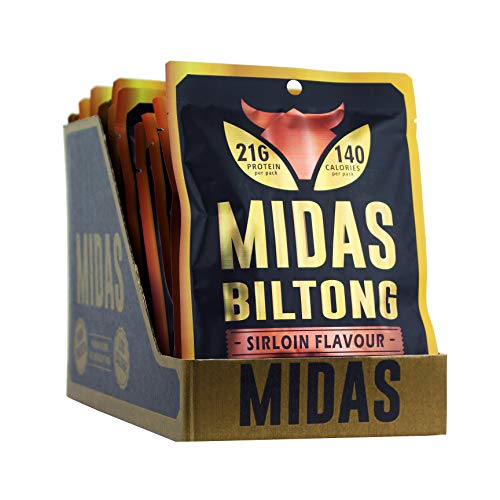 Midas Lean Cuts of Cured Beef Sirloin Flavour Biltong Box of 16 x 55g