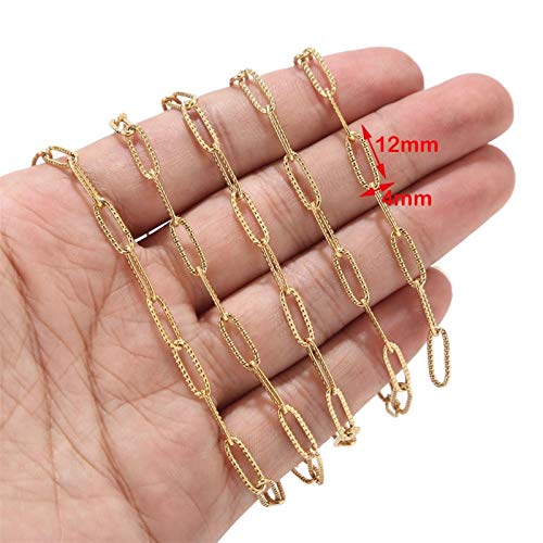 1 Meter 4mm Width Stainless Steel Gold Oval Link Chains Fit For Jewelry Making (Color : Gold Texted D Chain)