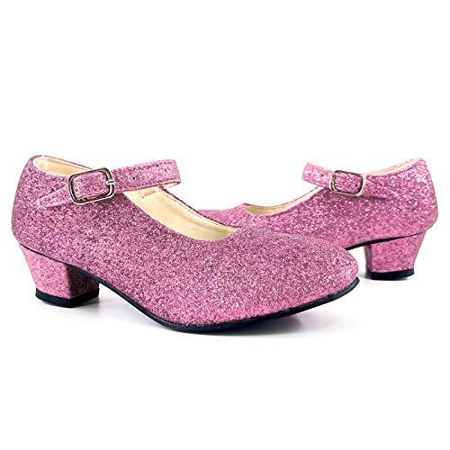 Zapatos Princesa Mujer Tacón Purpurina Rosa【Tallas Adulto 36 a 41 】[Talla 39] Disfraz Carnaval Regalos Niña Cumpleaños Navidad