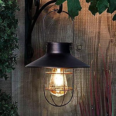 Outdoor Solar Hanging Lanterns Vintage Garden Solar Light with Warm LED Bulbs for Garden Yard Patio Pathway Tree Decoration, Solar Powered Landscape Lighting (Black)