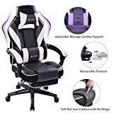 VON RACER Massage Reclining Gaming Chair - Ergonomic High-Back Racing Computer Desk Office Chair with Retractable Footrest and Adjustable Lumbar Cushion (Gray/White)