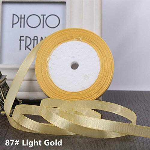 Adg 25yards / Roll de satén Cinta de Seda Silla de la Cinta del Grosgrain de 6 mm de Ancho canción de Fondo de Colores del Arco Iris de Regalo de Bodas DIY Trenzada Hecha a Mano,luz de Oro,6 mm