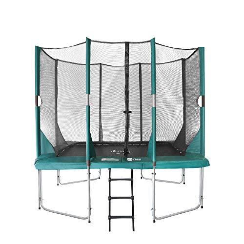 Etan Hi-Flyer Outdoor Trampolin mit starkem Sicherheitsnetz, UV-beständiges Randabdeckung & Leiter, Belastbarkeit 100 kg, 8 gepolsterten Stangen, Gartentrampolin Kinder - Grün - Rechteckig - 310 x 232 cm