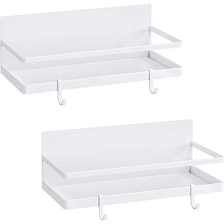 スパイスラック マグネット2点セット調味料ラック冷蔵庫サイドラック4つの調節可能なフック付き冷蔵庫サイドラック(小さいホワイト)