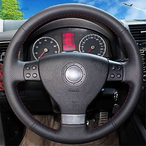 LUOERPI Schwarzes echtes Leder Auto Lenkradbezug, für Volkswagen Golf 5 Mk5, für VW Passat B6 Mk5 Tiguan 2007-2011 Jetta 5