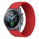 iBazal 20mm Correas Galaxy Watch Active2 Pulsera 40mm 44mm Nylon Banda Trenzada Lazo Individual Repuesto para Samsung Galaxy Watch 3 41mm/Galaxy Watch 42mm, Active 40 mm, Gear S2 Classic - S Rojo
