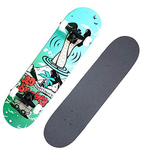 Adulto Surfing Estándar Skateboard Profesional Doble Warped Board Boy Cuatro Ruedas Scooter Juvenil Estudiantes Bailando Viaje Deck Anime Maple 31X 8 Pulgadas Longboard