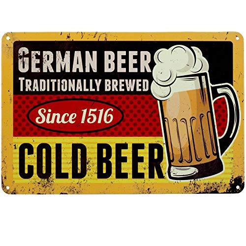 Blechschild German Beer 20x30 cm | Wand Dekoration | Retro Vintage Schild | Bier-Schild