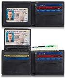 SERMAN BRANDS 2 ID Window RFID Wallet for Men, Bifold Top Flip, Extra Capacity Travel Wallet (Charcoal Black Executive)