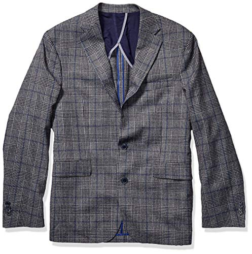 Cole Haan Men's Slim Fit Blazer, Grey/Blue Plaid, 42