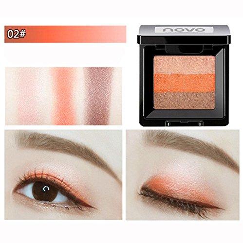 Coloré(TM) Palettes de maquillage 3 couleurs mélangé nacré mat fard à paupières ombre à paupières maquillage texturé palette (Multicolor B)