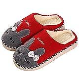 SAGUARO Otoño Invierno Zapatillas Interior Casa Caliente Slippers Suave Algodón Zapatilla Mujer Hombres Animados Pareja Zapatos Calzado, 37/38 EU=38/39 CN Rojo