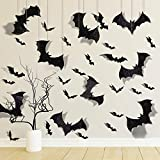 Whaline 63Pcs Halloween PVC 3D Bats Include 15Pcs 32 X 17.5cm Super Giant Hanging Bats and Wall Stickers Window Decal Party Outsides Yard Decor