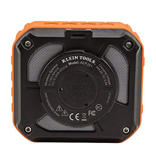 Product Image 2: Klein Tools AEPJS1 Wireless Speaker, Portable Jobsite Speaker Plays Audio and Answers Calls Hands Free, Durable Enough for Worksite Use