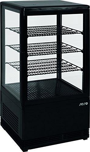 Saro 330-10051 Mini-Umluftkühlvitrine, Kunststoff, SC 70, 70 L, Schwarz