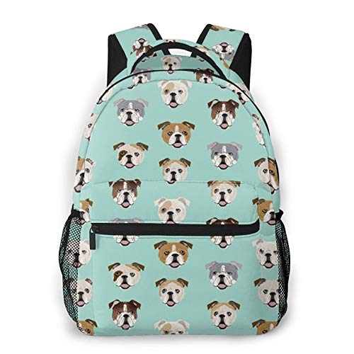 Men's Backpack Multipurpose English Bulldog Dog Face Mint Green Laptop Backpack Stylish Daypack Durable Book Bags for Sports, Outdoors, Running, Travel, Hiking