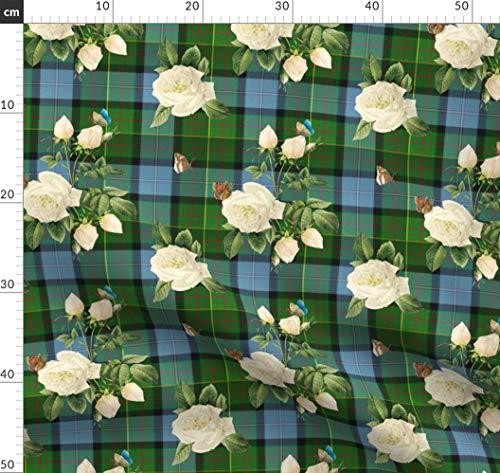 Schottenmuster, Schottenkaro, Schottisch, Redouté, Schmetterling Stoffe - Individuell Bedruckt von Spoonflower - Design von Lilyoake Gedruckt auf Leichter Baumwoll Twill