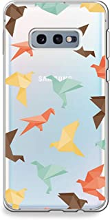 CasesByLorraine Samsung Galaxy S10e Case, Origami Colorful Paper Crane Pattern Clear Transparent Case Flexible TPU Soft Gel Protective Cover for Samsung S10e (A40)