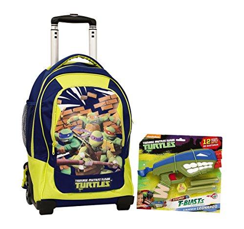 Ninja Turtles Rucksack Trolley Deluxe mit Pistole Blaster Gratis Kinderrucksack Polyester Blau 50 cm
