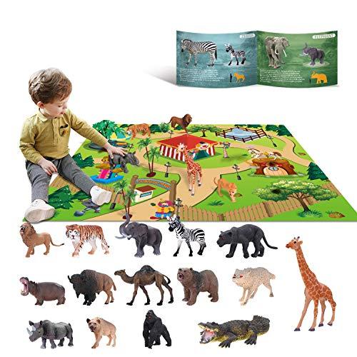 YouCute Giocattoli Animali Set di Giochi di Giocattoli educativi Selvaggi di Giungla di plastica con Game Pad Leone Tigre Regalo di preferenza per Feste per 3 4 5 6 7 Ragazzi, Ragazze, Bambini