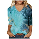 Womens Summer 3/4 Sleeve Shirts Tunic Tops V Neck Colorful Floral Printed Tees Shirt Loose Pullover Blouses Summer Tops