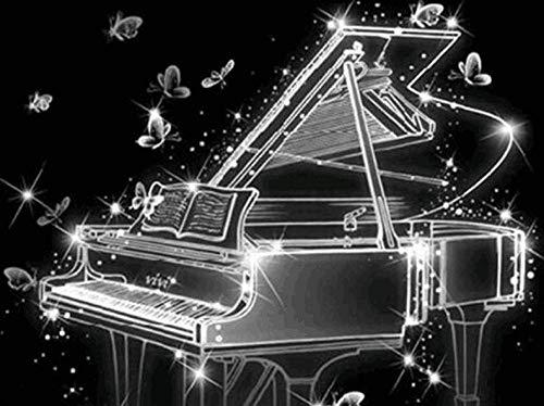 Zhonchng DIY Schilderen door Aantal Kits,Piano Olieverf Tekenen Canvas met Borstels Kerst Decor Decoraties Geschenken - 16 * 20 Inch Met frame