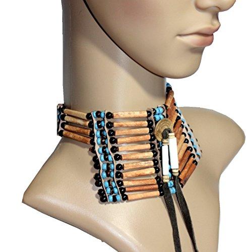 Hejoka-Shop Indianer Halsschmuck Brustpanzer Choker XL 29 x 8 cm. Bone Hairpipes BRAUN Perlen für Fotoshooting