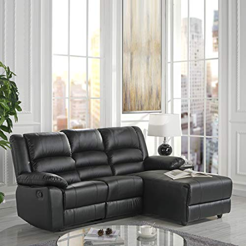 Bonded Leather Sectional Sofa with Single Recliner