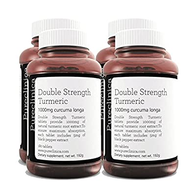 Double Strength Turmeric - Massive 1000mg x 720 Tablets - 200% More Turmeric and Natural Levels of Curcumin per Tablet - and 5mg Black Pepper Extract for 300% Increased Absorption. SKU: TURMx4