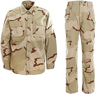LANBAOSI Men's Tactical Combat Shirt and Pants Set Long Sleeve Multicam Woodland Hunting Military Uniform