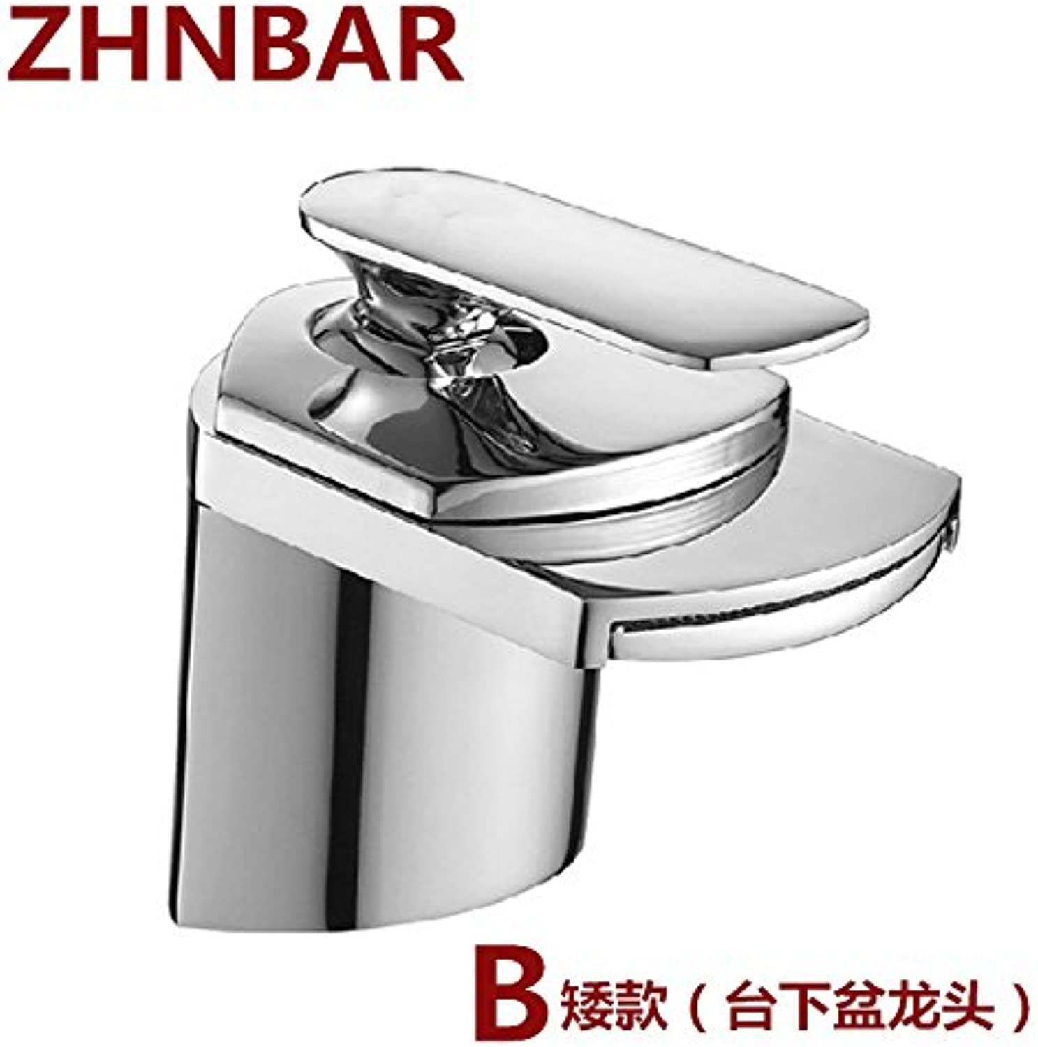 Hlluya Professional Sink Mixer Tap Kitchen Faucet Tap the full copper hot and cold tap big mouth wide mouth waterfall faucet basin faucet shower enclosure I, chrome plated