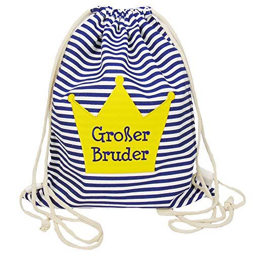 Partybob Kinder Rucksack Beutel Großer Bruder mit Krone (Blau-gestreift)