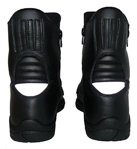 Protectwear TB-ALN-45 halbhoher Motorradstiefel, Tourenstiefel, Allroundstiefel aus schwarzem Leder mit 2 Reißverschlüssen, Größe 45, Schwarz - 6