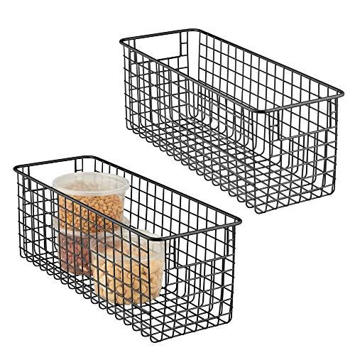 mDesign - Draadmand - organizer/bergruimte - draadgaas/landelijke stijl - voor keukenkastjes/voorraadkast/badkamer/wasruimte/bergkast/ggarage - metaal - 40,6 x 15,2 x 15,2 cm - verpakt per 2 stuks - mat zwart