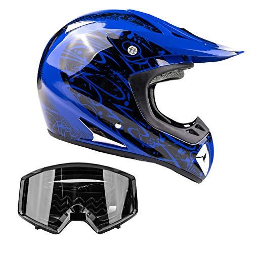 Typhoon Adult Dirt Bike Helmet & Goggles Combo ATV Motocross DOT, Blue w/Black (Small)