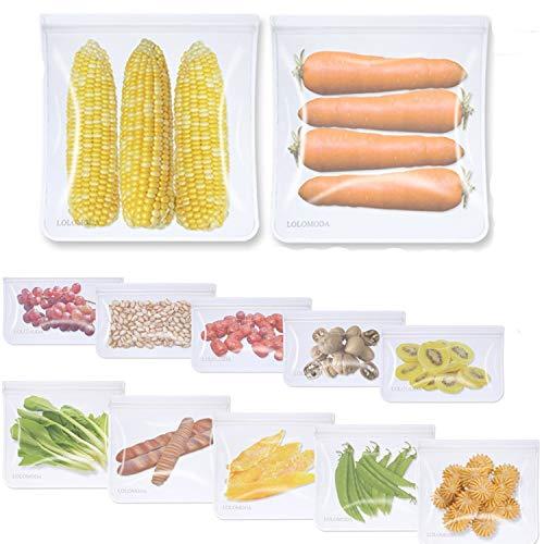12 Stück Wiederverwendbarer Lebensmittelbeutel, Obst- und Gemüsebeutel PEVA Aufbewahrungsbeutel Sandwichbeutel Küche Beutel für Gemüse Milch Snacks Fleisch,F-D-A Qualität