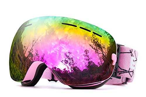 REVO Ski Goggles Anti Fog UV Protection OTG Helmet Compatible,Snowboarding Goggle for Snow Snowboard Snowmobile Skate Motorcycle Riding, Snow Goggles for Men Women Youth - By EnergeticSkyTM