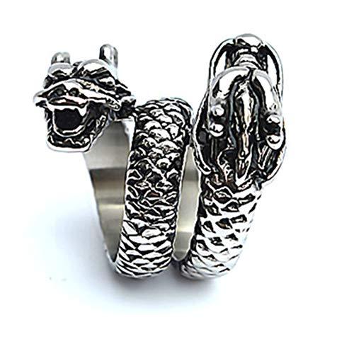 Boansi Titanium Steel Casting Double Tap Herrschsüchtiger Herren Ring Silber,Größe 62 (19.7)