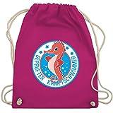 Sport Kind - Seepferdchen Schwimmer - Unisize - Fuchsia - turnbeutel schwimmen - WM110 - Turnbeutel und Stoffbeutel aus Baumwolle